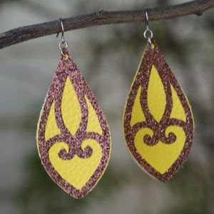 French Gold Stained Glass Earrings